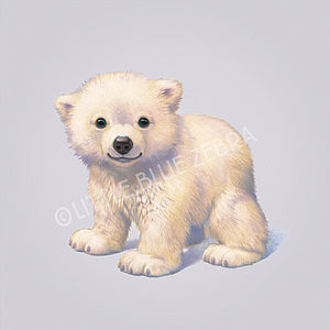 Illustrated Polar Bear Print - children's pictures & paintings
