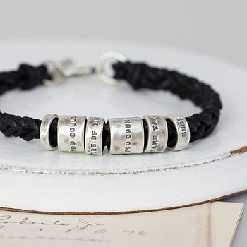 Distressed Personalised Message Bracelet