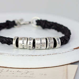 Distressed Personalised Silver Message Bracelet - men's jewellery