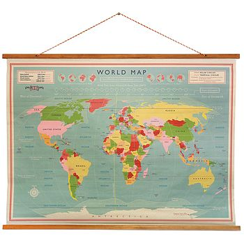 Map Vintage Style School World Poster