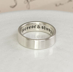 Personalised Silver Hidden Message Ring - love is... just for you