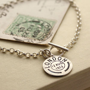 Personalised Vintage Style Postmark Bracelet - jewellery for women