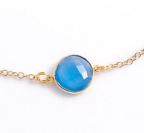 Blue Chalcedony Charm Necklace