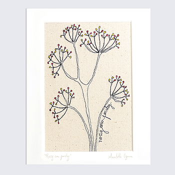 'Rosy Cow Parsley' Mounted Embroidery Artwork