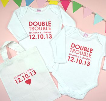 Personalised Baby Twins Gift Set