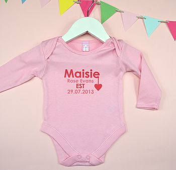 Personalised Girl's Est Year Baby Grow