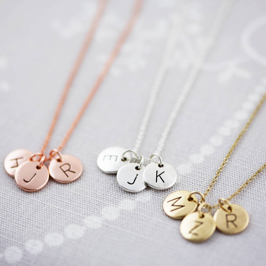 Triple letter disc necklace by js jewellery notonthehighstreet left to right rose gold silver gold mozeypictures Choice Image