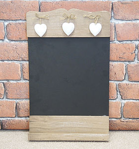 Wooden Chalk Board With Three Hanging Hearts - living room