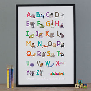 Illustrated Animals Bright Alphabet Print