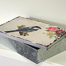 Bird, Floral Design Keepsake Box Tin