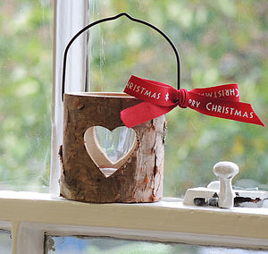 Christmas Wooden Bark T Light Holder - christmas lights