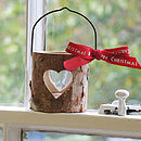Christmas Wooden Bark T Light Holder