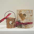 Large Christmas Heart Bark Candle Holder