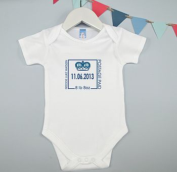Personalised Boy's Birth Date Babygrow