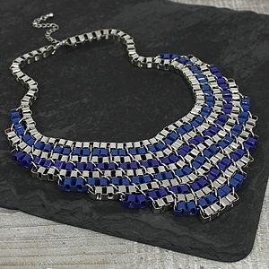 Blue And Silver Links Necklace