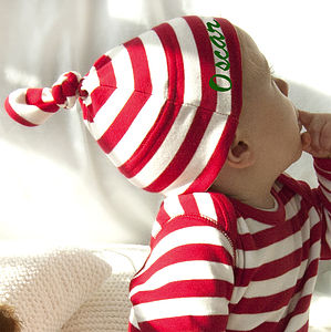 Personalised Stripy Christmas Knot Hat - baby's first Christmas