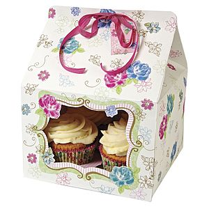 Cupcake Boxes: Love In Afternoon Pack Of Three - gift bags & boxes
