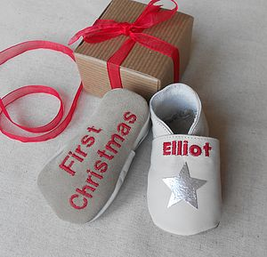 Personalised Christmas Star Baby Shoes - baby's first christmas
