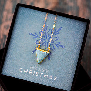 24k Gold Dipped Turquoise Triangle Necklace - wedding jewellery