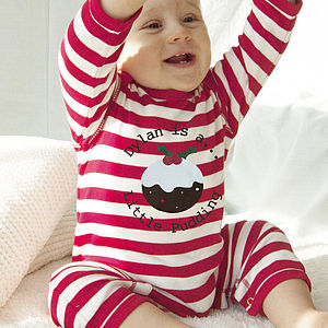 Personalised 'Pudding' Stripy Romper - baby's first Christmas