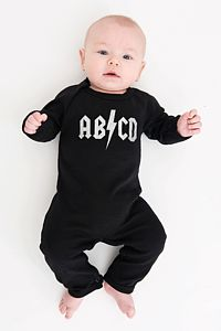 Abcd Babygrow In The Style Of Acdc - babygrows