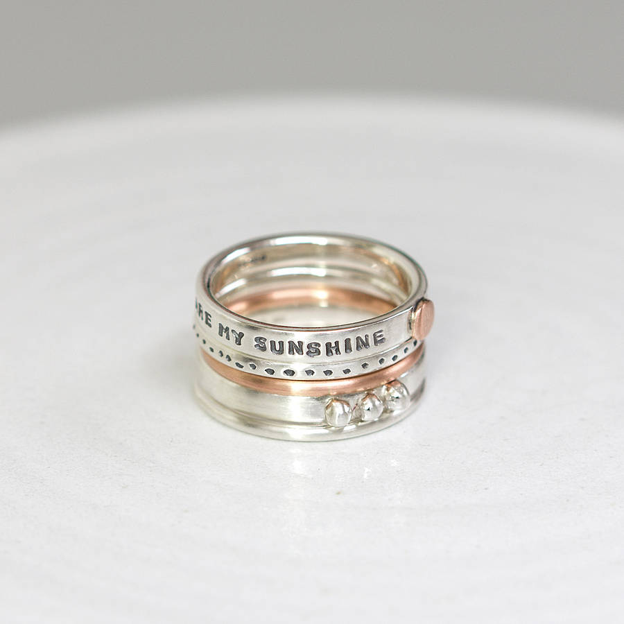 Stacker Bands: Personalised Stacking Rings With Rose Gold By Notes