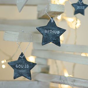 Personalised Slate Effect Star Decorations - tree decorations