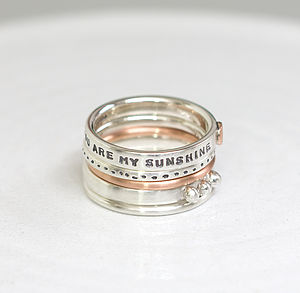 Personalised Stacking Rings With Rose Gold - rings