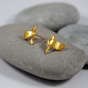 Gold Bird Stud Earrings