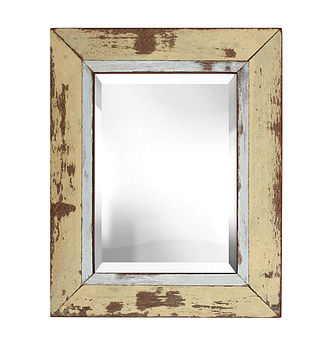 Reclaimed Wood Framed Mirror in Creamy Yellow