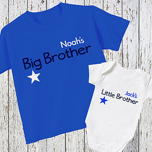Personalised 'Brother' T Shirt And Baby Grow - clothing