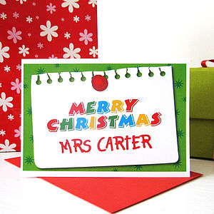 Personalised Teacher Christmas Card - cards