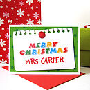 Personalised Teacher Christmas Card