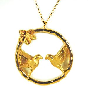 Gold Love Bird Necklace - 25th anniversary: silver