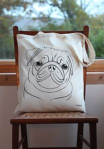 Pug Print Cotton Tote Bag - bags & purses