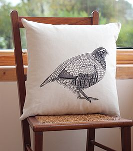Partridge Screen Print Cushion Cover - patterned cushions