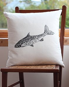 Salmon Screen Print Cushion Cover - living room