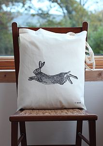 Hare Print Cotton Tote Bag - bags & purses