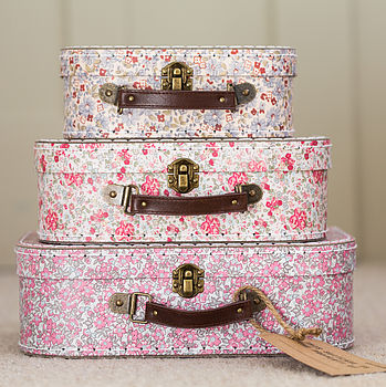 Set Of Three Vintage Print Mini Suitcases