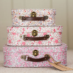 Set Of Three Vintage Print Mini Suitcases - gifts for her