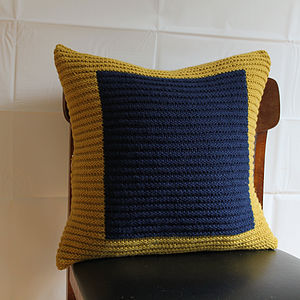 Handknit Mustard And Navy Colourblock Cushion