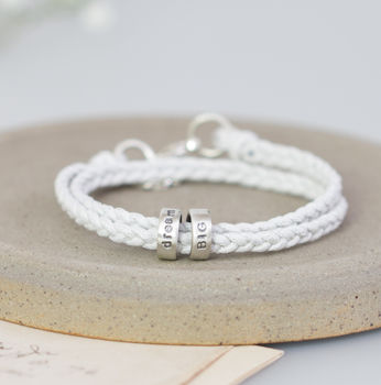 Ladies Personalised Silver Message Bracelet