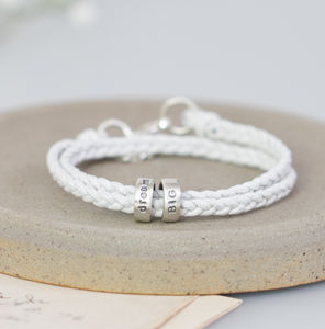 Ladies Personalised Silver Message Bracelet - 18th birthday gifts