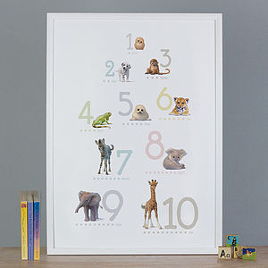 Illustrated Animals Number Print
