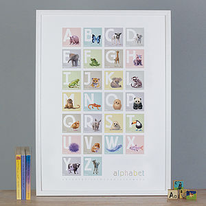 Illustrated Animals Block Alphabet Print
