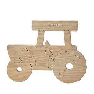 Hand Carved Personalised Tractor Jigsaw