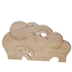 Hand Carved Personalised Elephant Jigsaw