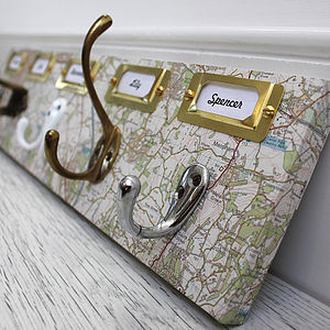 Vintage Map Mismatched Coat Hook Board