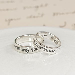Personalised Silver Script Ring - men's jewellery