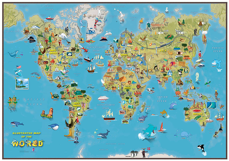 Kids cartoon map of the world by maps international kids cartoon map of the world gumiabroncs Choice Image